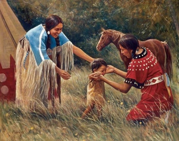 Native American Family It takes a village to raise a children. That's why I love their culture and not mine