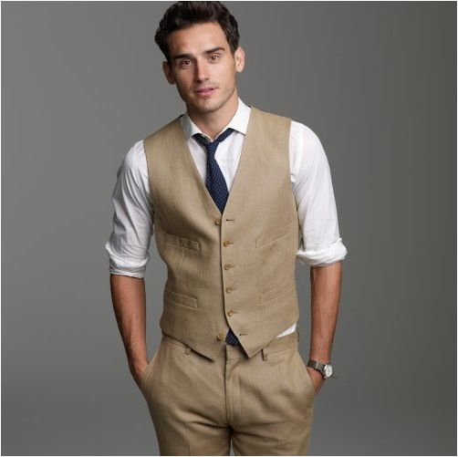 j crew Ludlow suit vest in Irish linen (imagine glasses, light blue shirt w/some sort of print, and a funky bow tie)