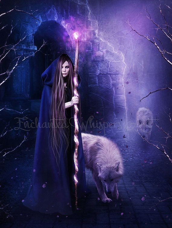 Sorceress art print Witch print fantasy witch wolf via EnchantedWhispersArt on Etsy