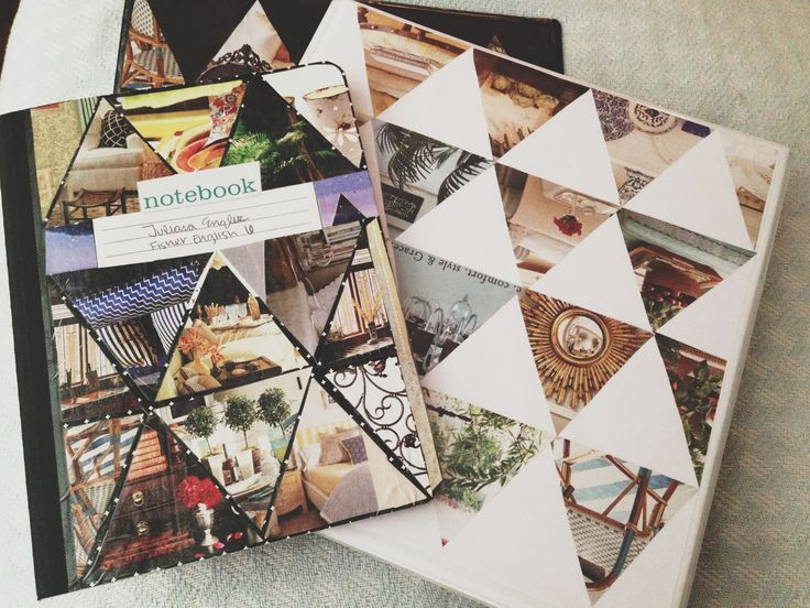 Decorate your binder and notebook with magazine triangle cutouts! Place, glue, then tape over it all.