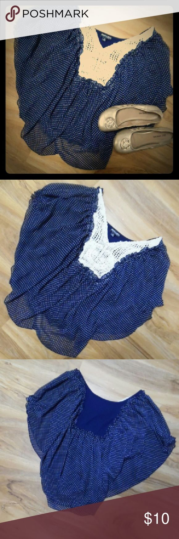Batwing top About a girl short sleeve bat wing top sz small. Navy blue with white polka dots. Crochet detail on front with some small gold beads. Somewhat sheer but has a camisole underneath attached about a girl Tops Blouses