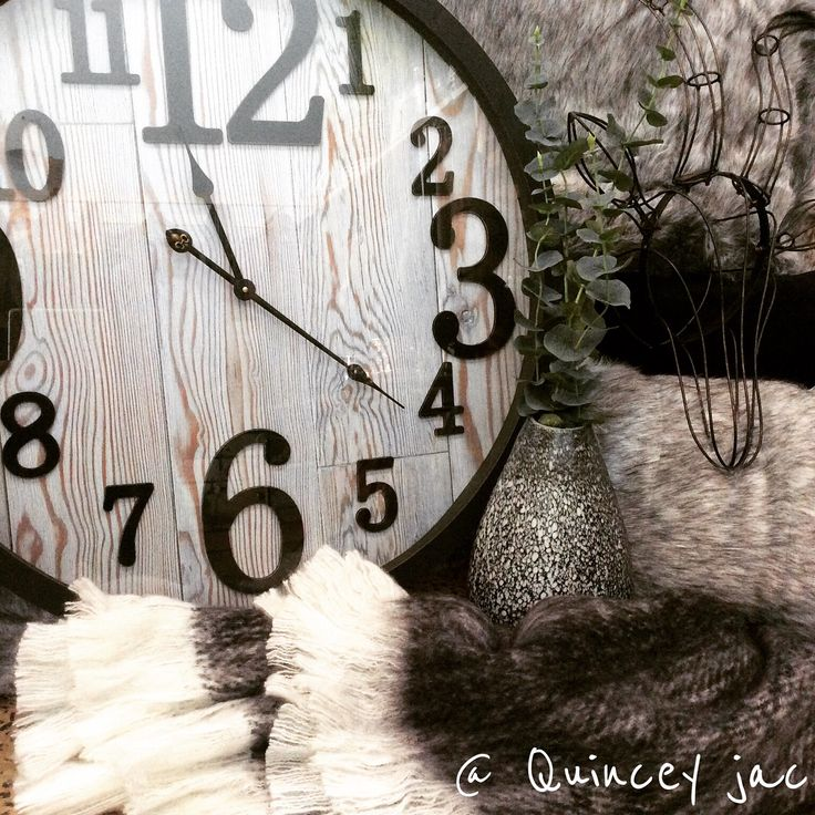 #blackandwhite #clock #throwrug #fuxfur #stag #homedecor #gifts #quinceyjac