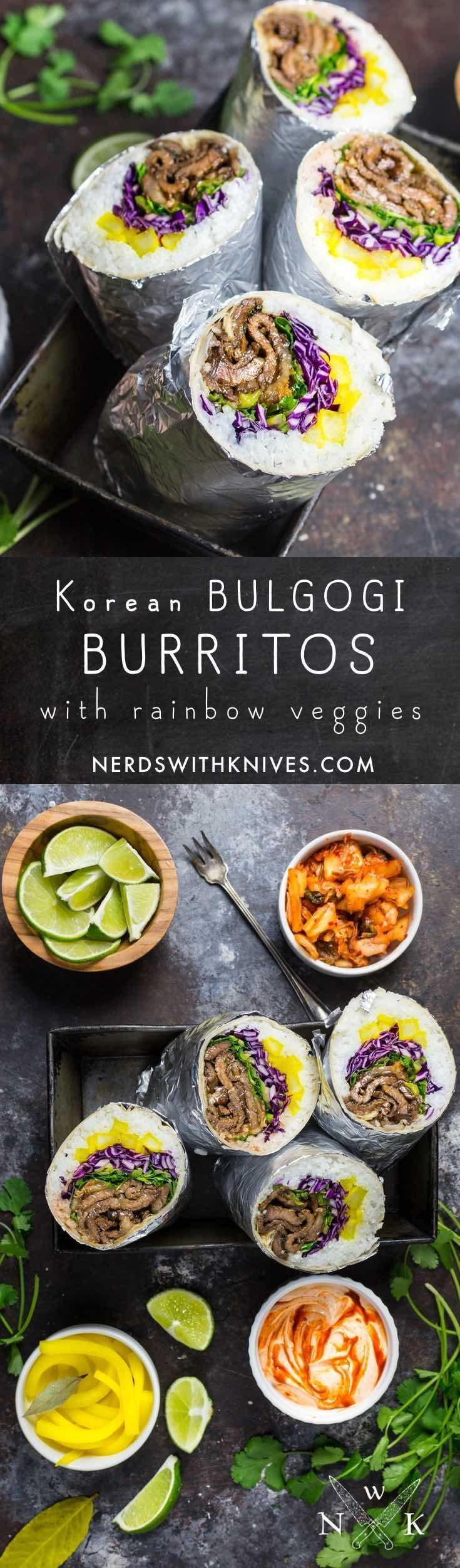 Korean bulgogi burritos – tender soy and sugar marinated beef, charred crisp and wrapped in a burrito with a rainbow of vegetables. A delight for the palate … and the palette.