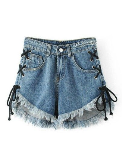 Pantalones cortos prima Hem Ojal Lace Up Denim