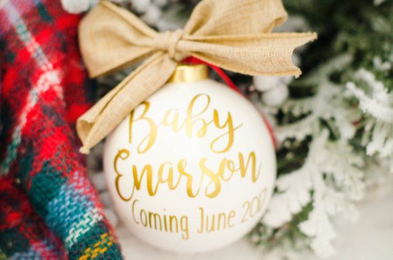 Baby Announcement Ornament Pregnancy Ornament by HappymailVinyl