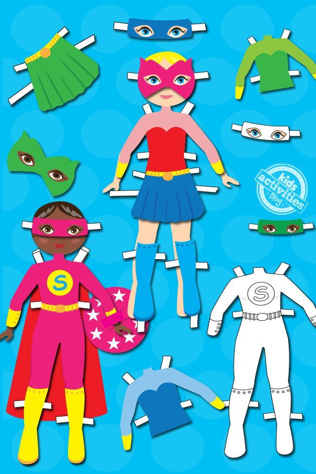 Ordinary girl at day, superhero at night! It's all possible with these superhero dress up dolls! I loved playing with dress up dolls as a kid and I think they are really great for kids imagination! Superhero Dress Up Dolls I think we all want a super power or two (moms actually  have the 'supermom' power) and with these dolls kids can imagine having as many as they want! The Superhero Dress Up Dolls  for Kids set includes: one page with two dolls. one page  3 heroic jumpsuits 1 with heroic…