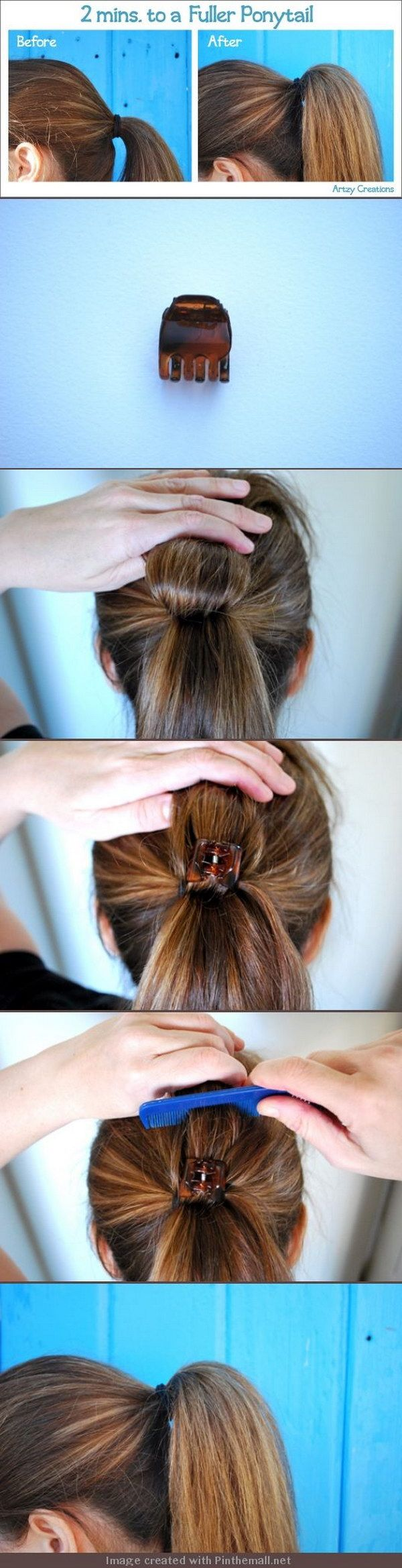 Put a Clip in Hair to Get a Fuller Ponytail