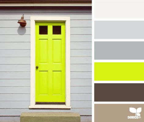 Bright yellow door against grey or charcoal siding. Doing this to our doors in the spring!