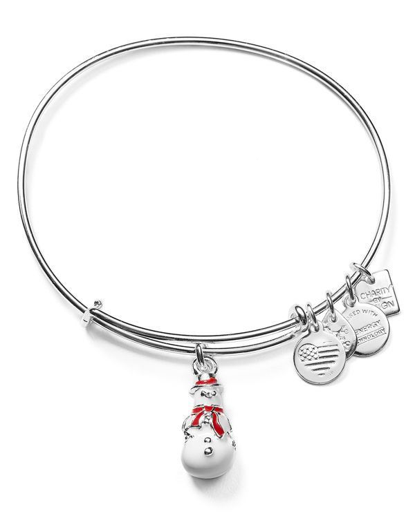 Alex and Ani Charity by Design Snowman Charm Expandable Wire Bangle