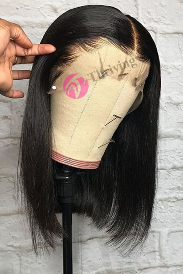 Glueless Straight Short Virgin Human Hair Undercut Bob Pre-Plucked 360 Lace Wigs [V6-360]#naturalhair #wigforblackwomen