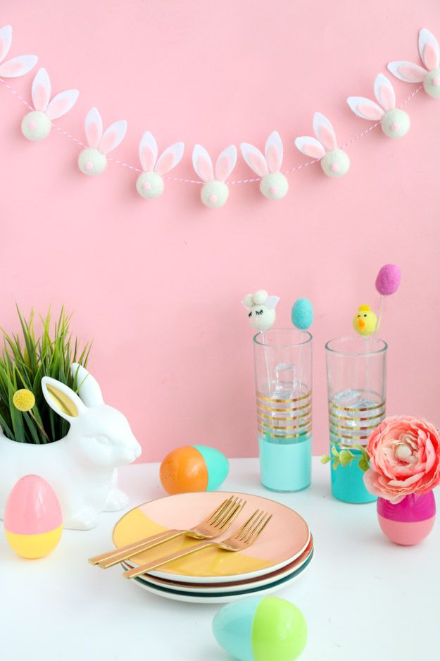 DIY Felt Ball Bunny Easter Garland