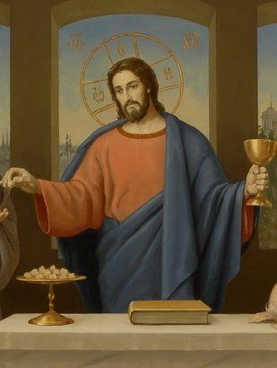 Тайная вечеря в виде Евхаристии. Фрагмент иконы