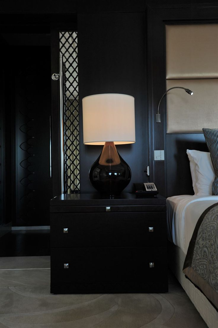 One and Only The Palm Dubai, United Arab Emirates. #lamp #black #white #monochrome #interior #stylish #lighting #bed #room