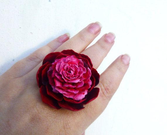 Marsala floral ring Peony ring Wine red ring by jewelryNatalie