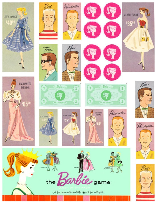 Digital Collage - Vintage - Barbie Boardgame - Clipart - ACEO - ATC - Altered Art. via Etsy.