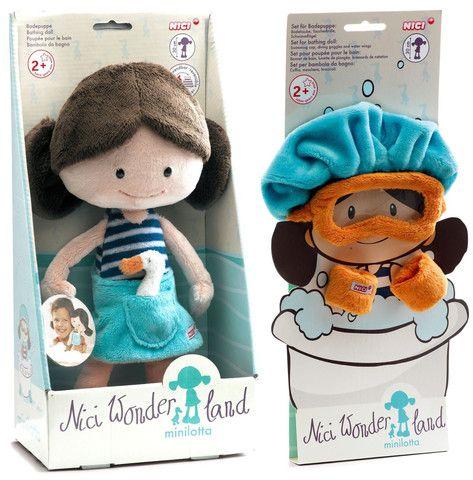 "Nici Wonderland MiniLotta 12"" Machine Washable Bath Tub Plush Doll with Bath Cap, Goggles and Floaties"