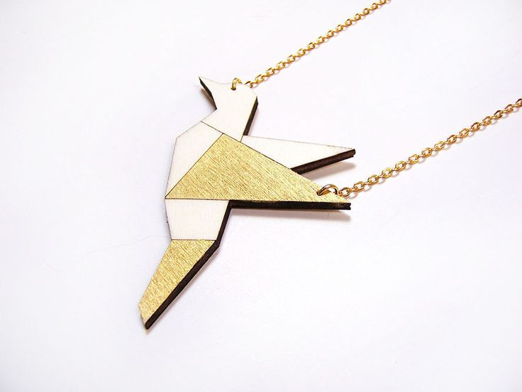 Hand painted, laser cut, plywood pendant - Bird