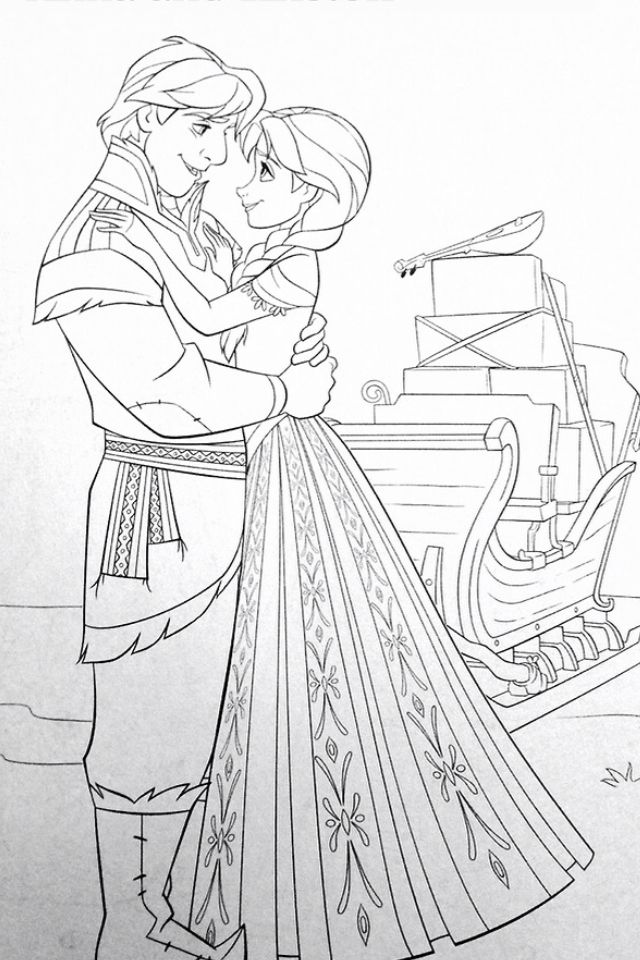Frozen Coloring Pages Anna And Kristoff Family : Anna and kristoff coloring page disney