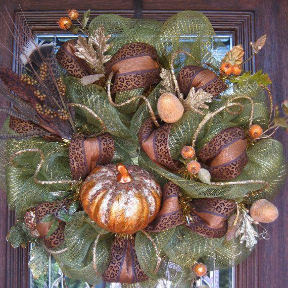 Deco Mesh FALL SPARKLE PUMPKIN Wreath with Leopard by decoglitz