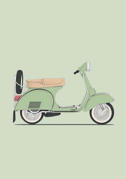 classic vespa scooter italian mint green illustration drawing art print poster classic cars illustration serie