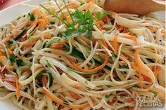 Receita de Salada de linguini com kani kama e palmito em receitas de saladas, veja essa e outras receitas aqui!