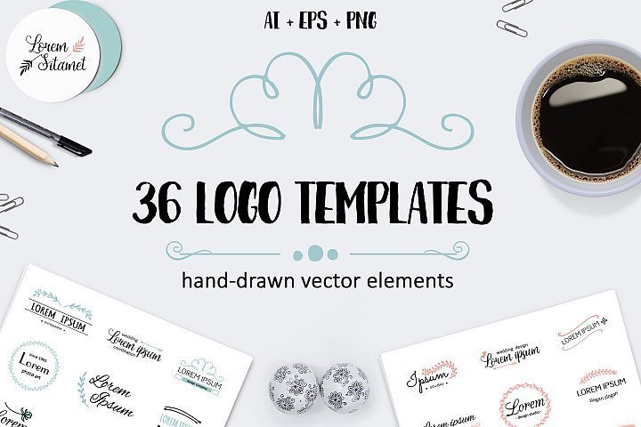 36 Logo templates hand drawn style