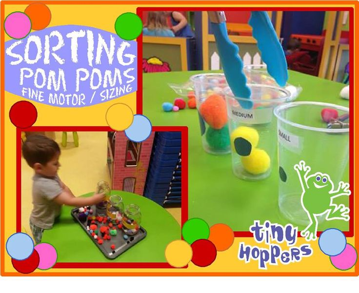 """A cute hands-on activity to teach children how to sort by size with a fun fine motor twist! Label clear containers with the words """"Small, Medium and Large."""" Place out a large container of pom poms. Children sort the pom poms into the correctly labelled containers. To add a fun fine motor component, children mustContinue Reading"""