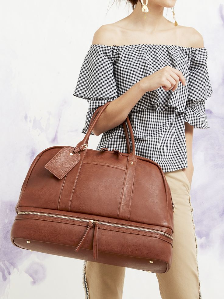 Bestselling travel bag with a bottom shoe compartment and two interior pockets | Sole Society Mason