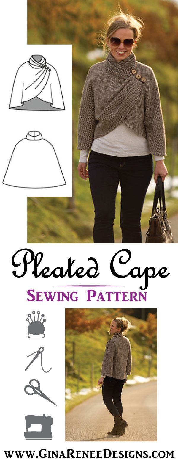 WOW, is this Elegantly draped, or what?! Womens Cape Sewing Pattern by Gina Renee Designs