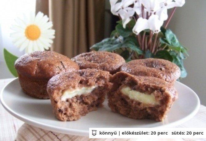 Banános-csokis muffin 3. (pudinggal töltve)