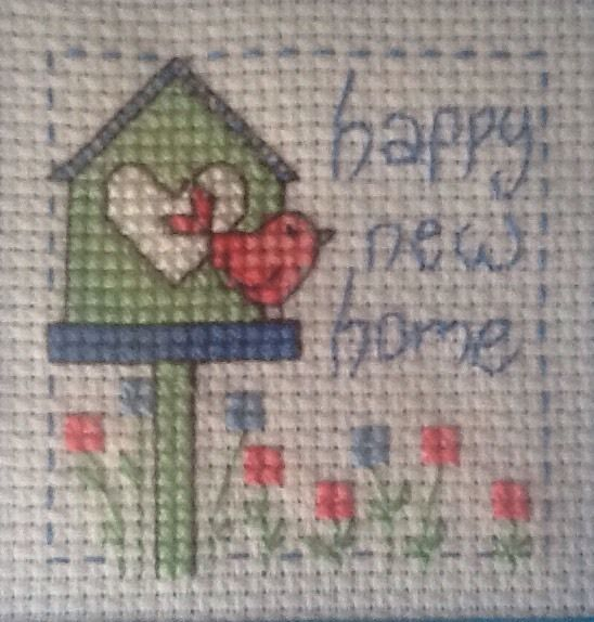 Completed Cross Stitch Card - Happy New Home | eBay