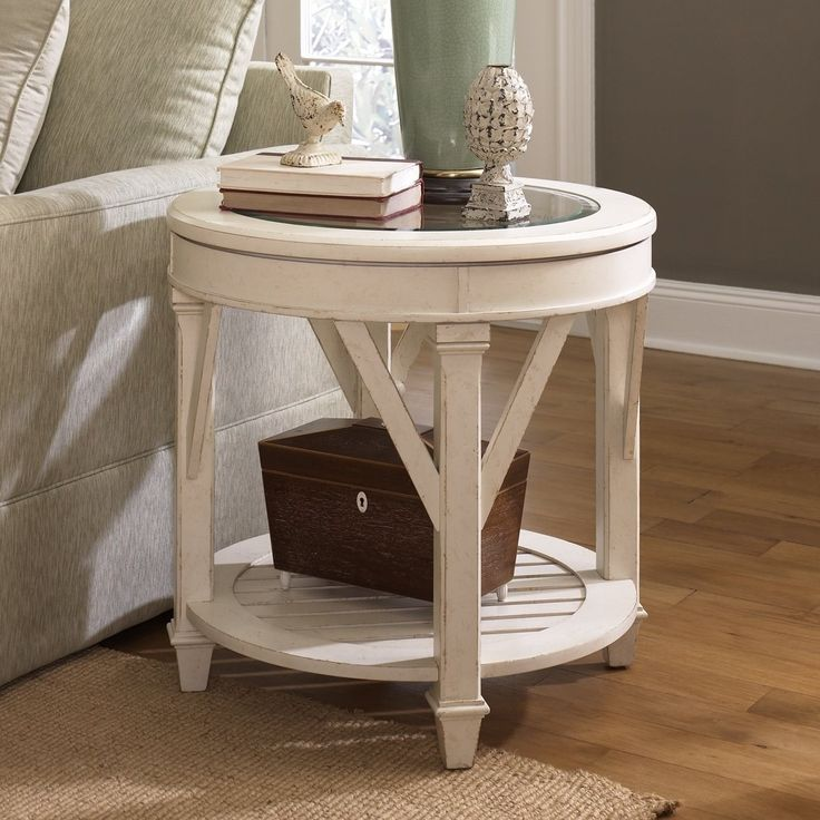 Antique White Round End Tables