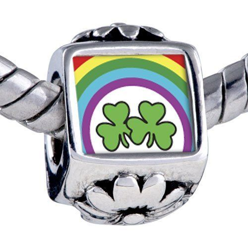 Pugster Silver Plated Photo Bead Patrick's Day Theme Photo Flower European Charm Bead Shamrock Rainbow Fits Pandora Bracelet Pugster. $12.49. Unthreaded European story bracelet design. It's the photo on the flower charm. Fit Pandora, Biagi, and Chamilia Charm Bead Bracelets. Bracelet sold separately. Hole size is approximately 4.8 to 5mm
