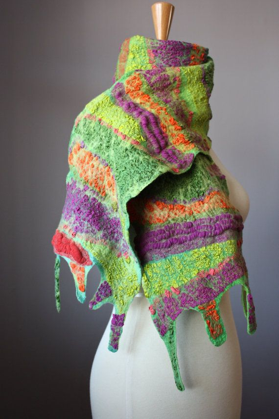 Felted scarf Wool Silk Purple Orange Green by VitalTemptation, $135.00