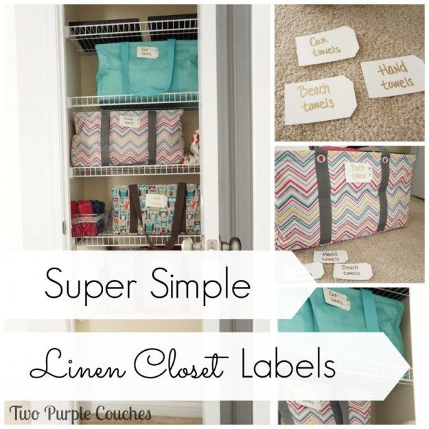 Super Simple Linen Closet Labels. Make with card stock and a paint pen! via www.twopurplecouches.com #organizing #homeorganization #linencloset