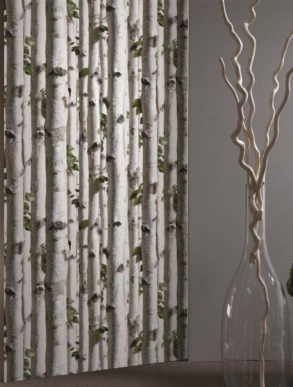 A digital print image of birch trees in natural green and beige colouring. Featuring slender trunks with gnarly nodules and green leaves. http://www.wowwallpaperhanging.com.au/tree-wallpaper/