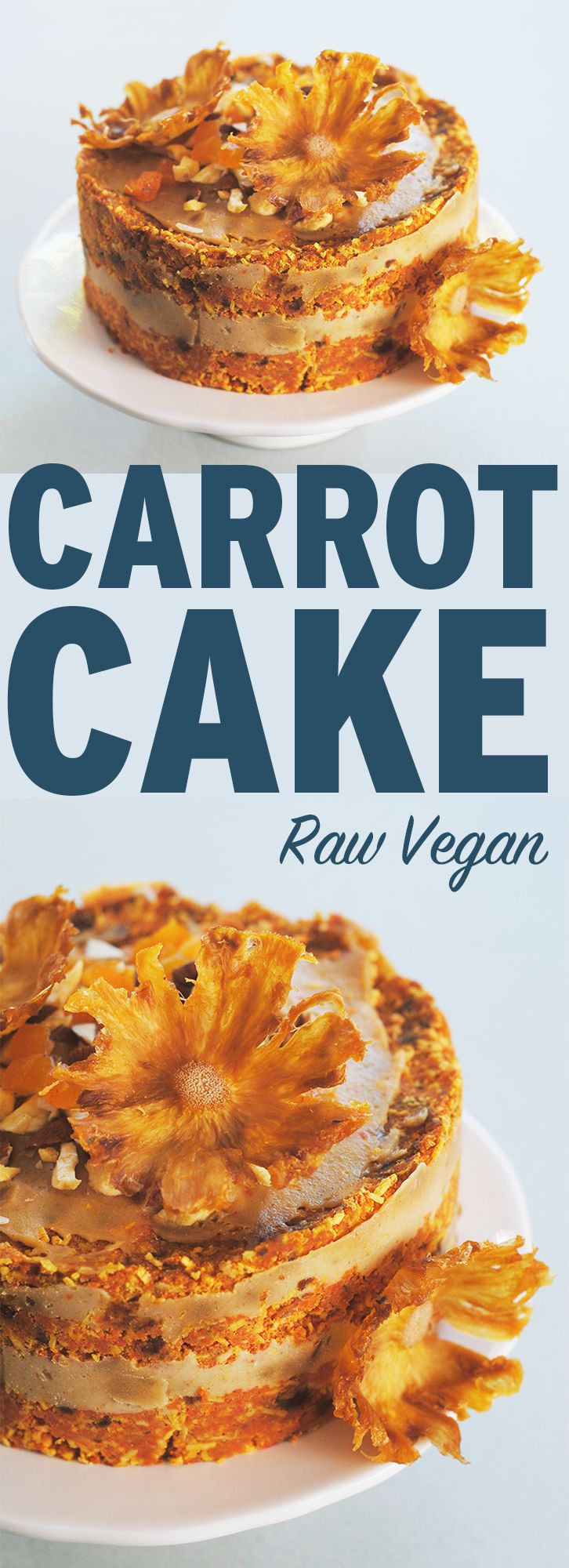 This carrot cake is raw and vegan. The texture will amaze you! Top it with cashew cream frosting for a surprisingly decadent dessert.   http://theblenderist.com/raw-vegan-carrot-cake/