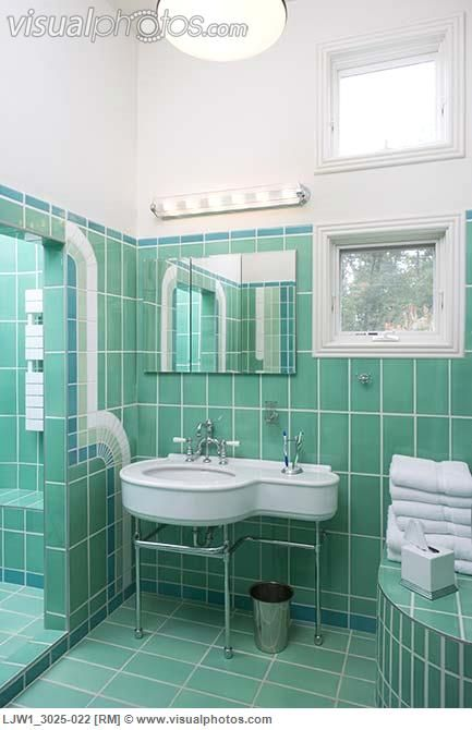 Bathroom Art Deco Style Green Tile Walls And Floor Geometric Green Tile Designs