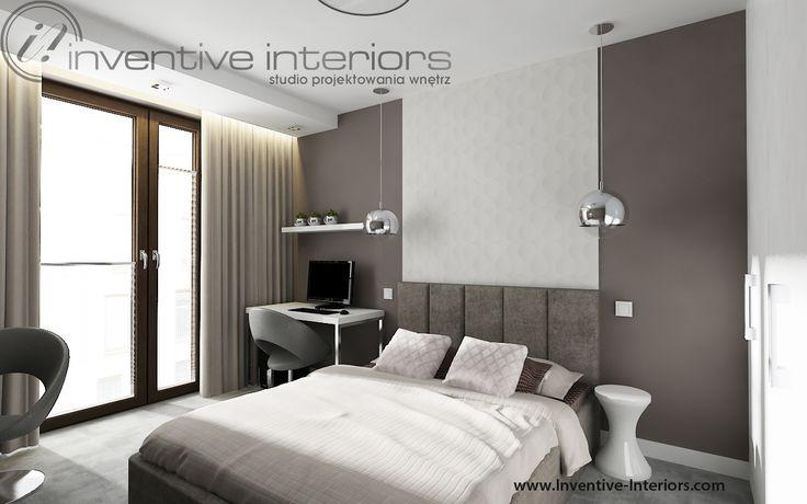 Projekt sypialni Inventive Interiors - beż, taupe, szarość i biel w sypialnia