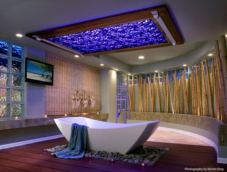 a natural bathroom with bamboo