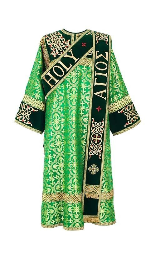 """$530.00 Orthodox Vestments. Green Protodeacon Vestment. Fabric: silk, velvet. The sticharion is decorated with """"Holy. Holy. Holy."""" and """"Ornament with drops"""" embroideries."""