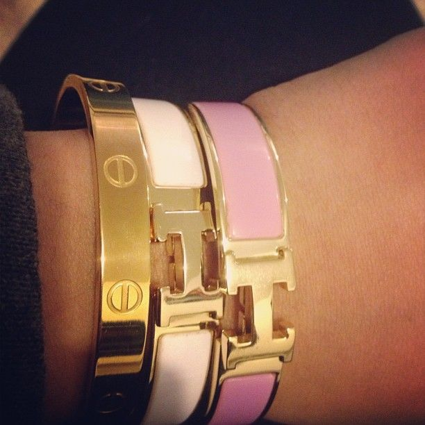 Hermes and Cartier bracelets! Yes, please! #wristparty #armcandy
