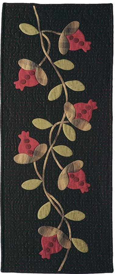 """***!! Wandering Beauty by Kay Harmon, Festive in red and green, pomegranates and vines wind their way throughout this inviting table runner, Finished size 16 1/2"""" x 40"""", pattern $10, Primitive Quilts & Projects, Winter 2016"""