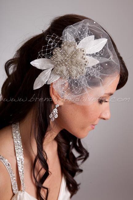 Crystal Rhinestone Beaded Flower Bridal Hair by brendasbridalveils