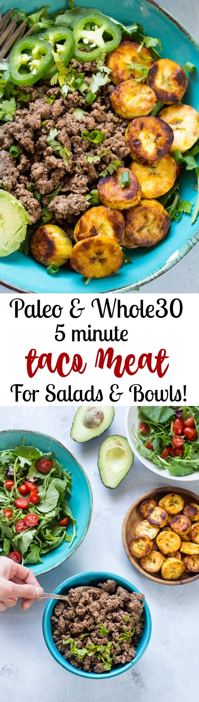 Fácil 5 minutos carne Paleo taco que es perfecto para ensaladas rápidas taco, cuencos, o envolturas.  Whole30 agradable y muy bien para las familias ocupadas para cenas entre semana!  Funciona muy bien para hacer antes de tiempo durante la preparación de la comida también.