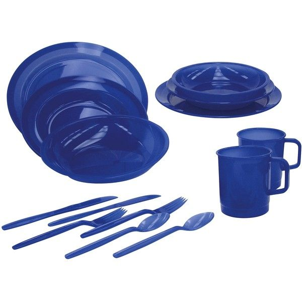 2 Person Campers Tableware Dinner Set - Blue (165 SEK) ❤ liked on Polyvore featuring home, kitchen & dining, dinnerware, dining & entertaining, plastic dinner plates, blue salad plates, blue tableware, outdoor dinnerware and blue bowl