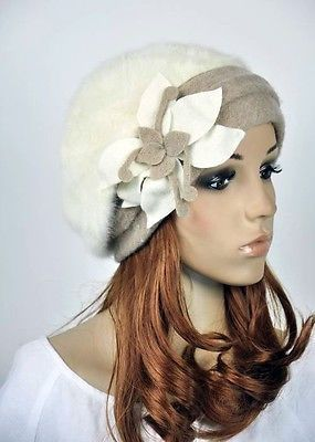 M32 White  Faux Rabbit Fur Wool Acrylic Women's Hat Beanie Cap Winter