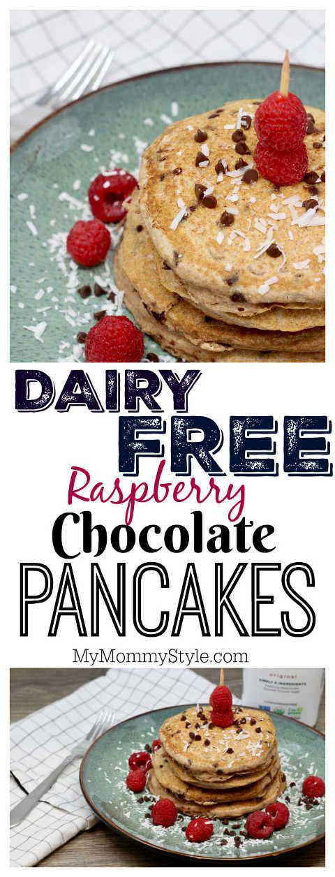 Whole Wheat Dairy Free Chocolate Raspberry Pancakes! This #dairyfreerecipe made with So Delicious Dairy Free is worthy of a round of applause. Add peanut butter if you want a taste of heaven! ALSO***You can snag a 20% off coupon 02/18/18 to 03/17/18 using the Target Cartwheel app! Trust me, you'll want to make a trip to make this! #SoDelciousAlmondmilkTarget #ad http://bit.ly/RaspberryChocolatePancakes diary free pancakes, almond milk pancakes,