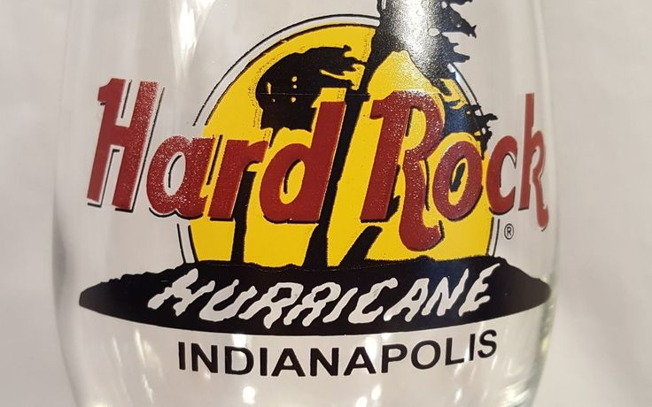 "HARD ROCK CAFE ~ HURRICANE BAR GLASS ~ INDIANAPOLIS 9.25"""