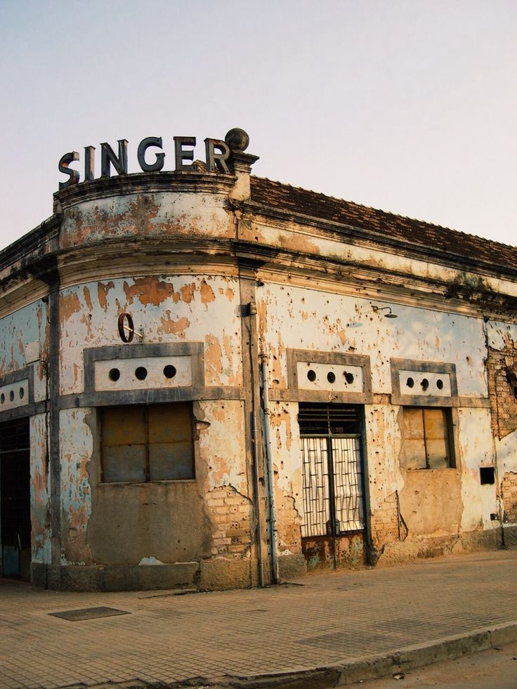 Abandoned Singer sewing machine store.